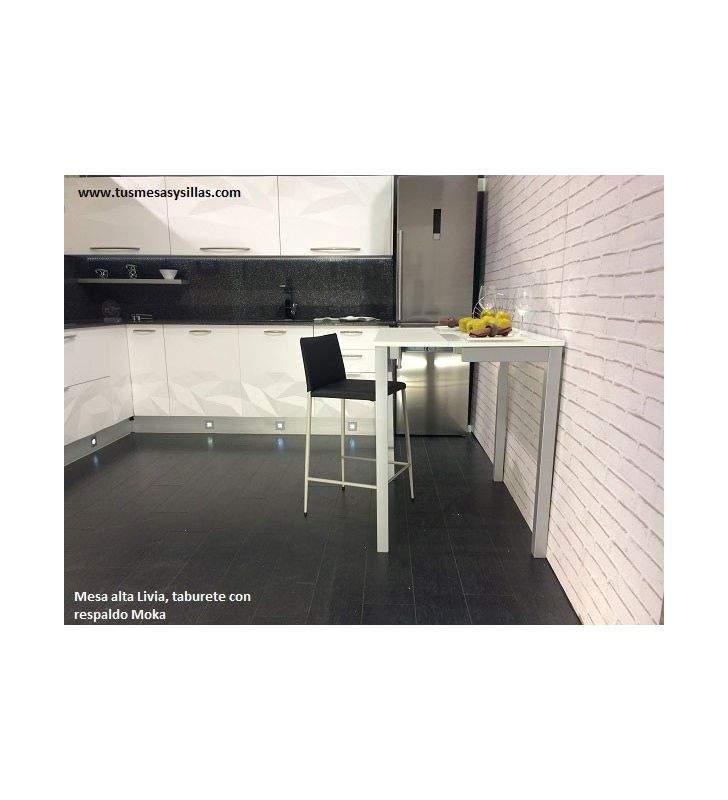 Mesa alta  o mostrador  cocina Livia fondo 45 y 50 cm encimera cristal