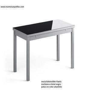 table-étroite-plan de travail-verre-noir