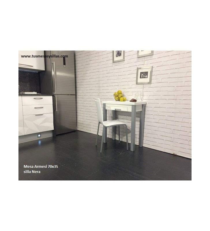 Mesa de cocina pequeña extensible Armesi Libro, fondo 35, 40 y 45
