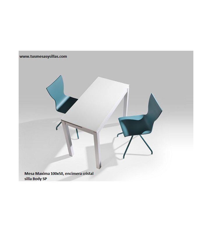 Mesa cocina Maxima vimens  encimera cristal, ceramica y compacto fondo 50 cm