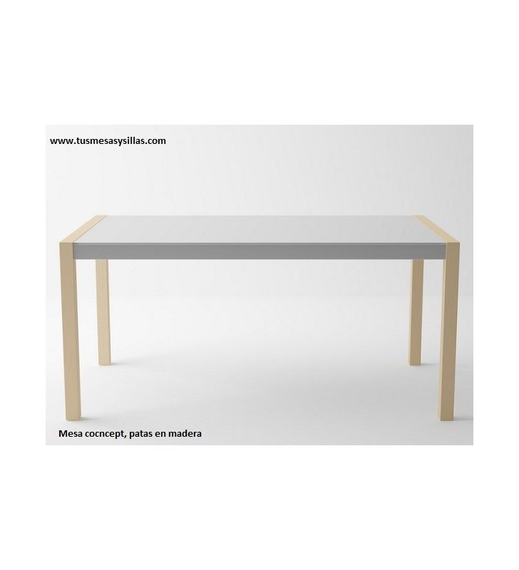 Mesa moderna Concept con patas de madera extensible