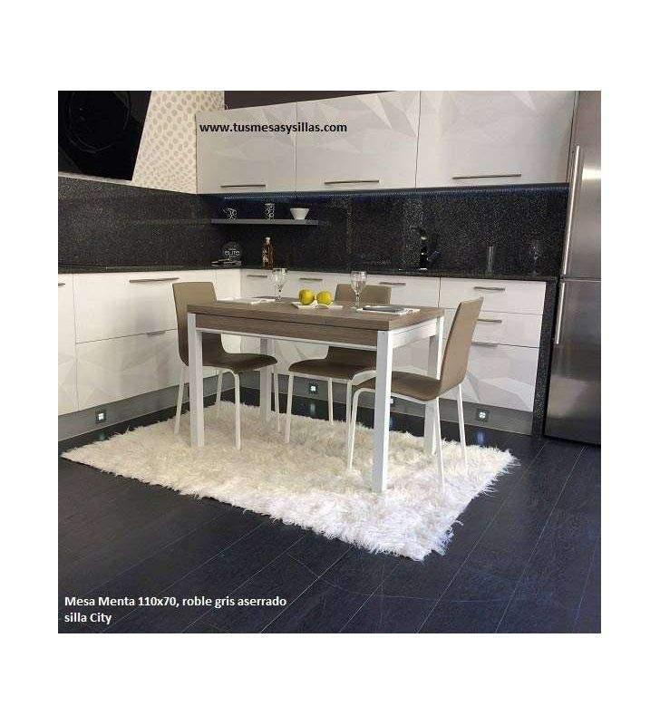 Menta, mesa de cocina de estilo nordico con cajón