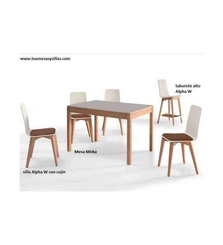 Table Mirka en bois plan de travail Dekton vimens