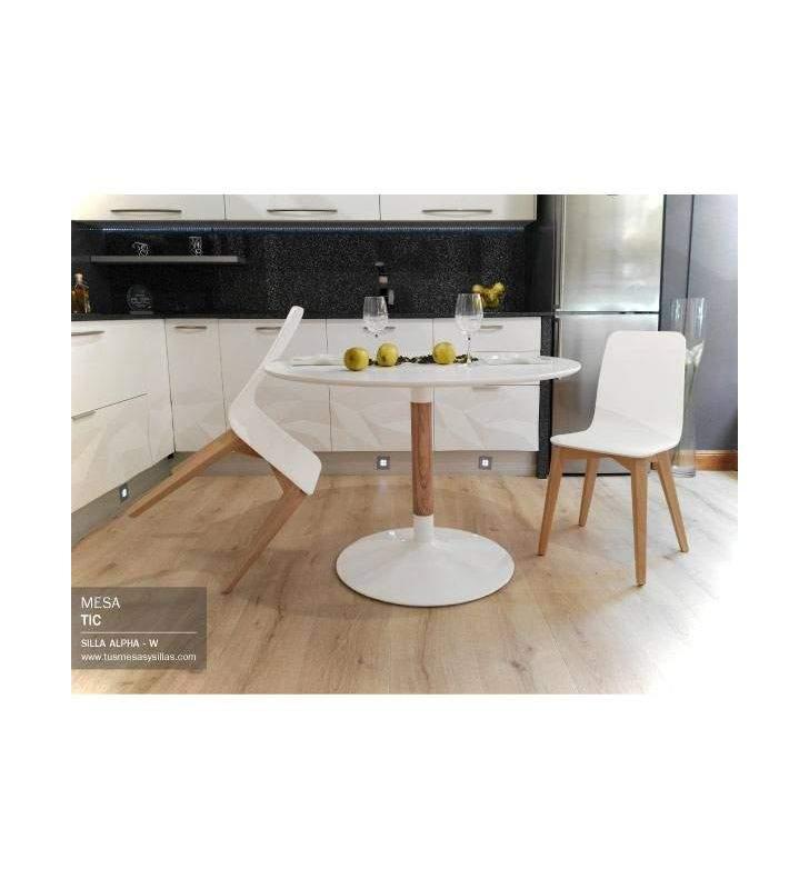 Mesa redonda Tic de estilo nórdico y pie central