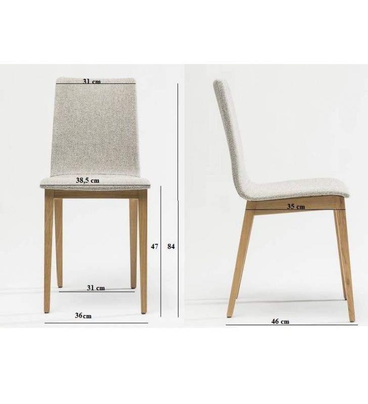 Silla Font tapizada y patas de madera de roble o haya