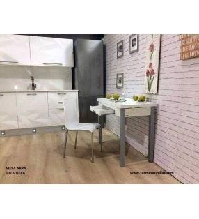 Mesa pequeña Arpa de cocina extensible a lo largo con cajón