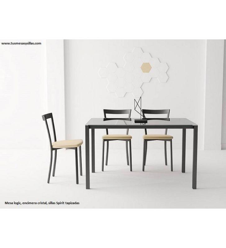 mesa fija de cocina logic encimera cristal