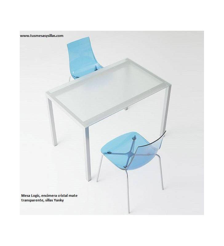 Mesa cuadrada Logic encimera cristal