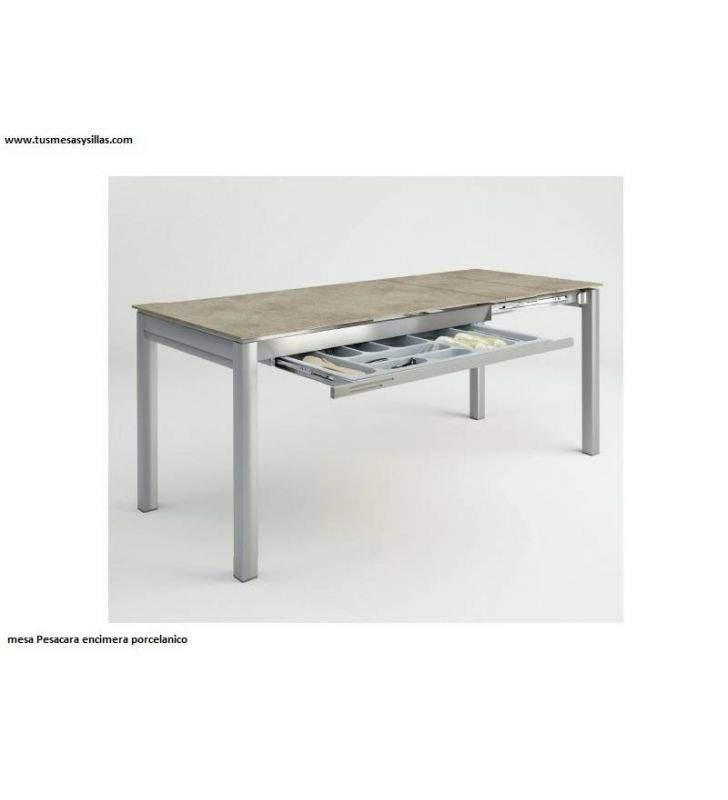 Mesa extensible con cajon en ceramica y cristal Pescara