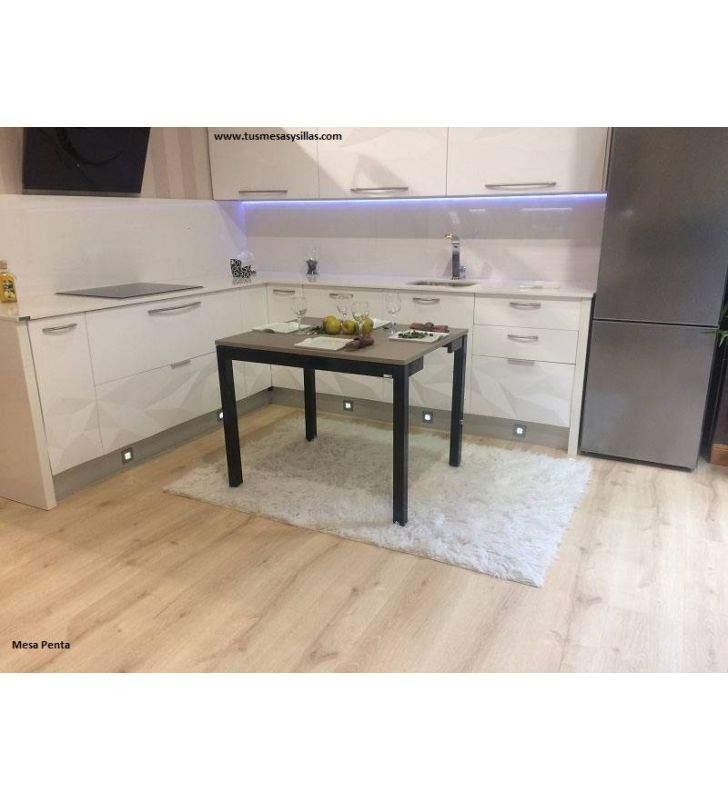 Mesa cocina extensible Penta encimera laminado y Fenix