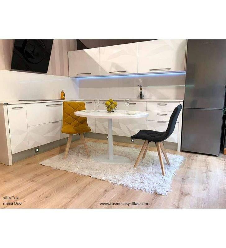 Table ronde Duo en blanc, bois ou laqué