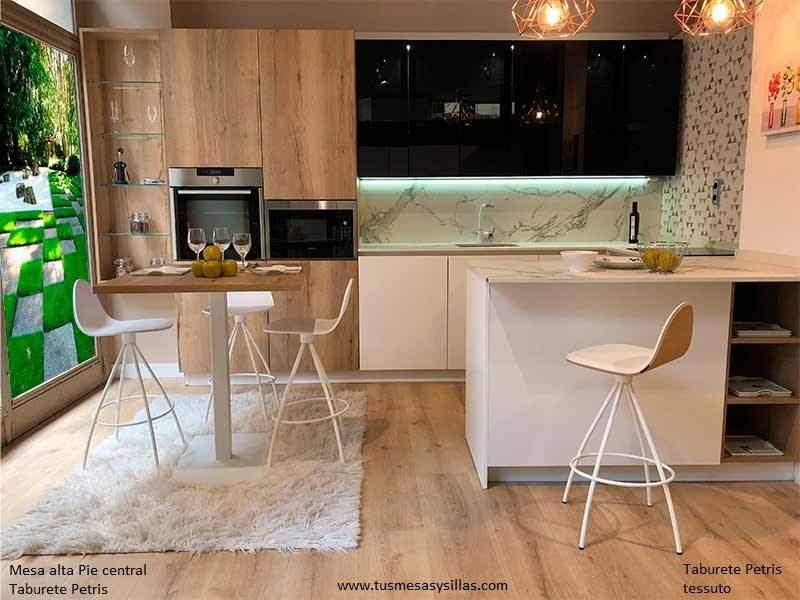 mesa alta con pie central para cocina, y hostelería