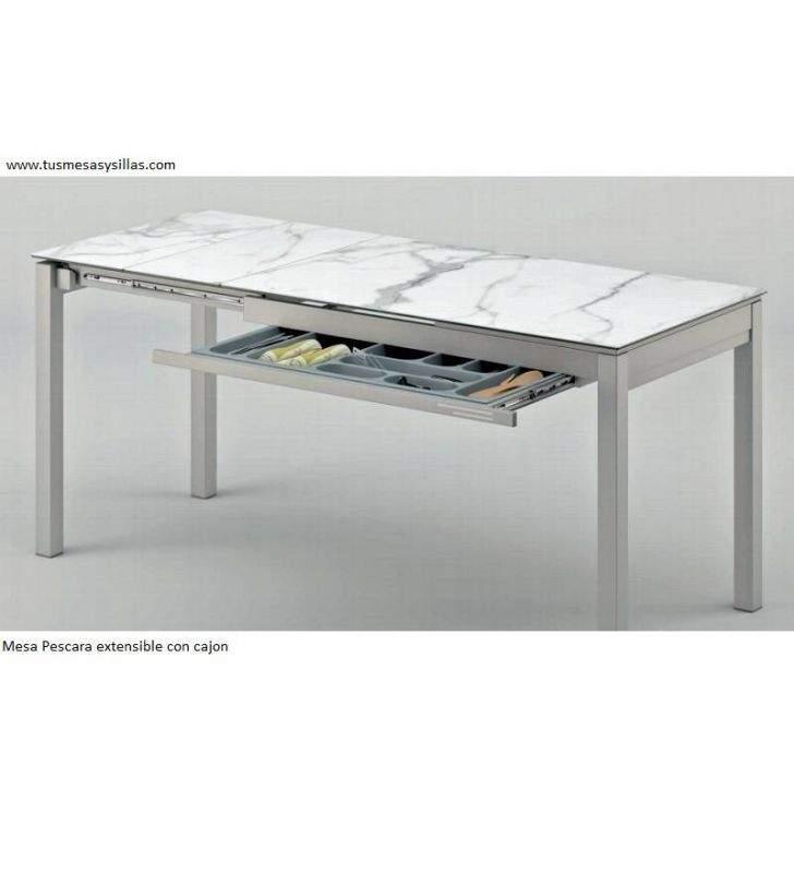 Mesa extensible con cajón en cerámica y cristal Pescara