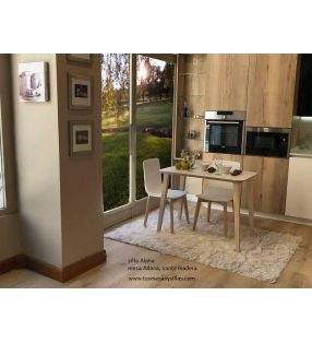 Table fixe bord biseauté en bois Adana