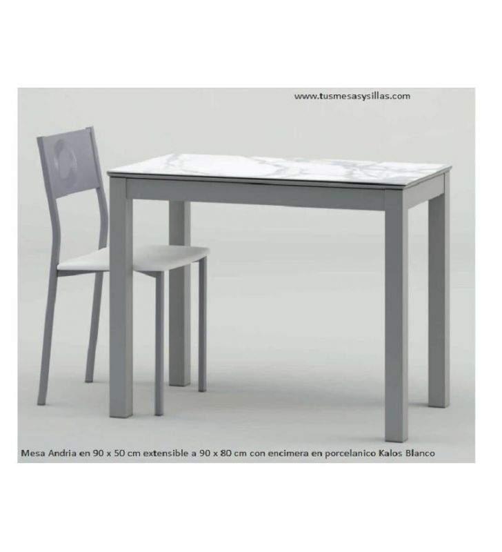Mesa estrecha Andria 90x50 cm en cristal o porcelanico