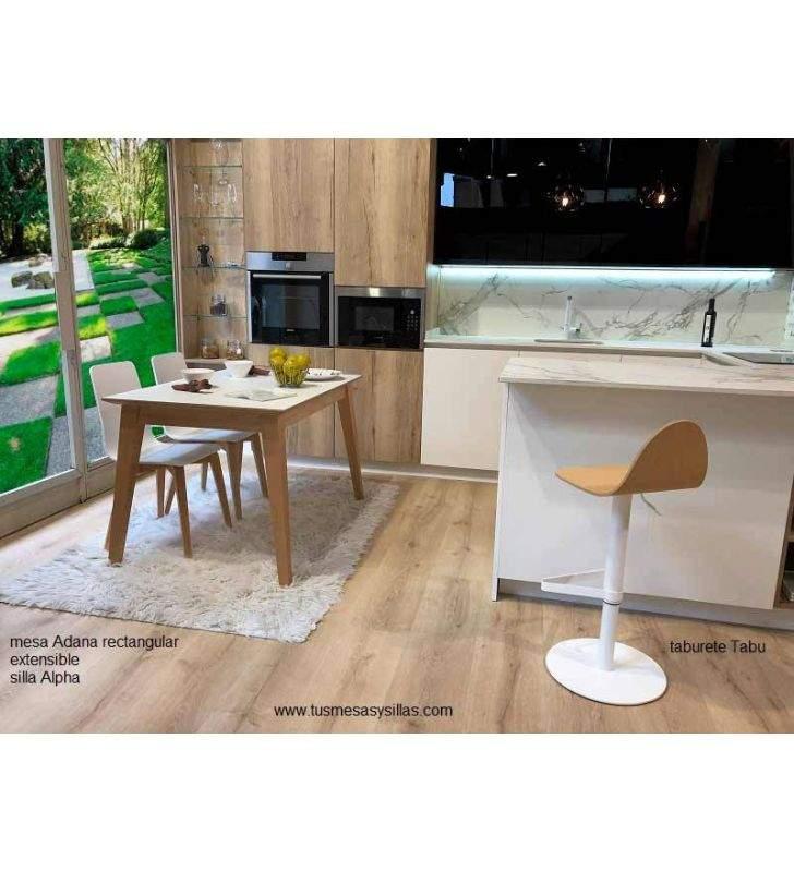 Mesa extensible Adana, encimera estratificado canto madera