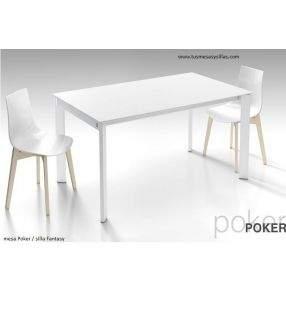 mesa extensible Poker encimera de cristal