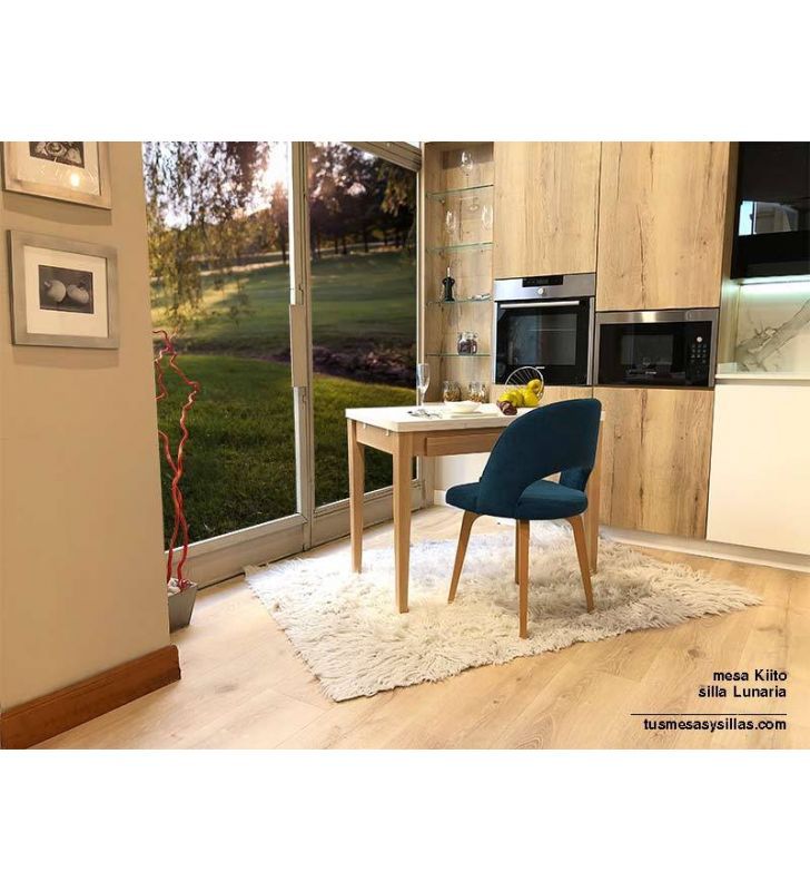 Kiito mesa con cajón en madera y encimera cristal