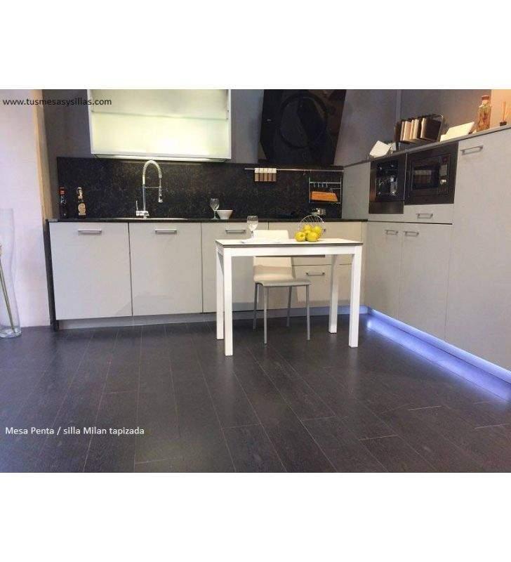 Mesa cocina extensible Penta encimera cristal Mesima