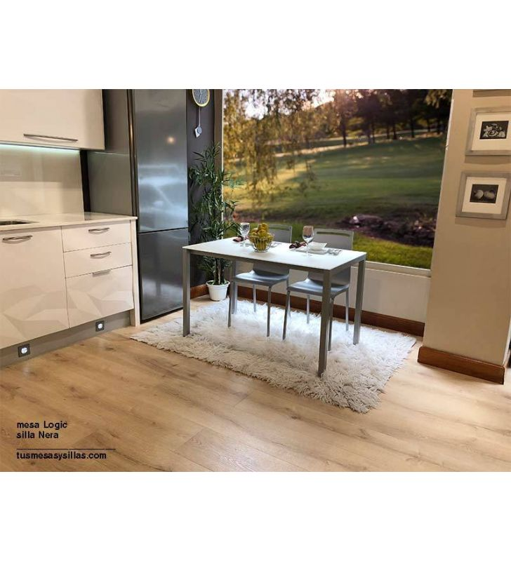 Mesa fija Logic XL con encimera de cristal