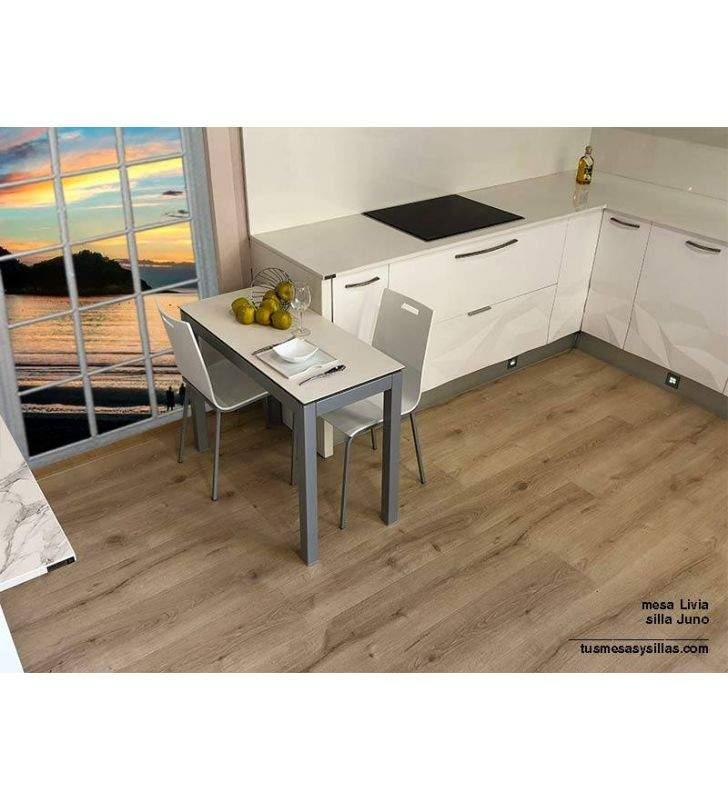 Table avec partie inférieure Livia comptoir 45 et 50 cm en stratifié mat ou brillant