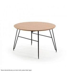 Mesa redonda extensible en roble vintage