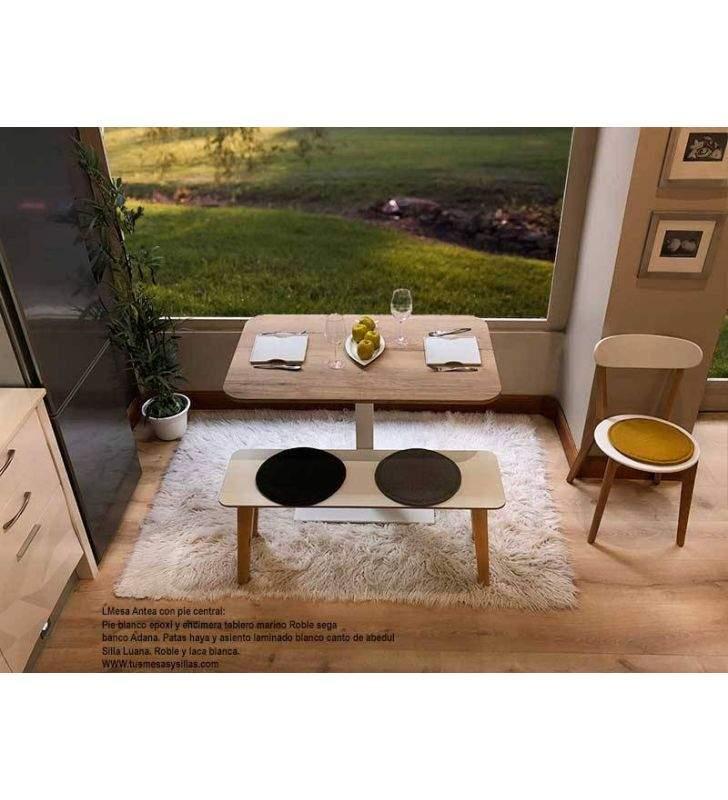 Mesa Antea extensible con encimera de cantos redondeados