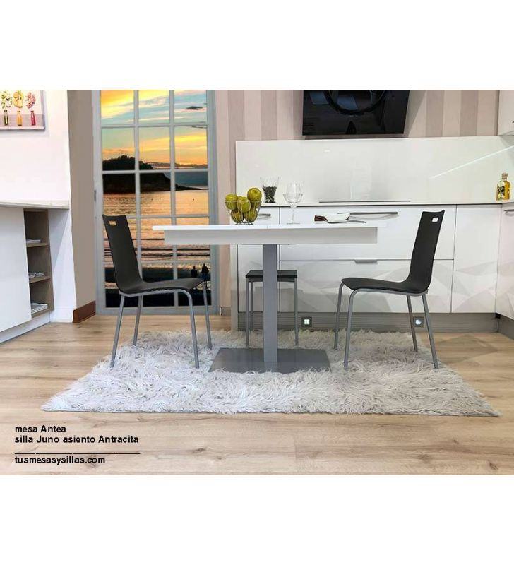 Mesa extensible color blanco de pie central para cocinas y salón