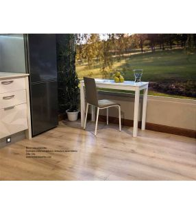 Table petite et étroite pour cuisine Livia fond 45 et 50 cm plan de travail en verre