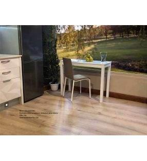 Table petite et étroite pour cuisine Livia fond 45 et 50 cm plan de travail en verre