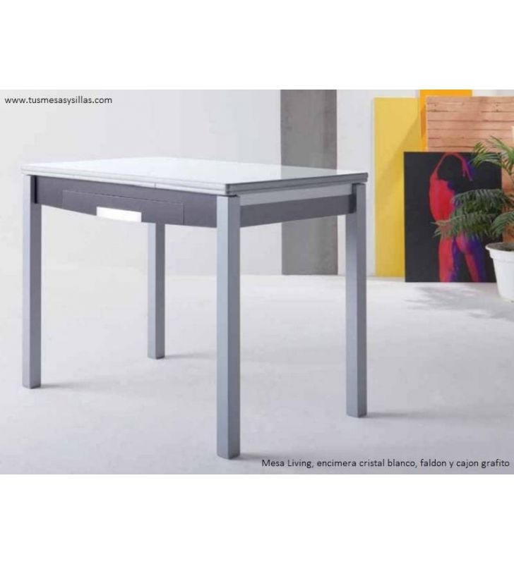Table de cuisine extensible aux coins arrondis