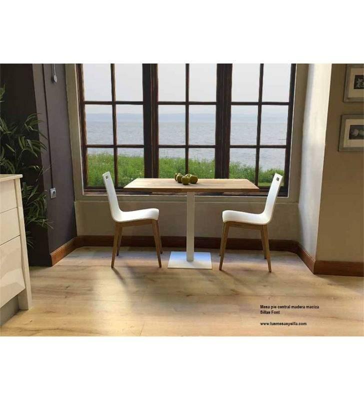 Table centrale avec plan de travail en bois massif