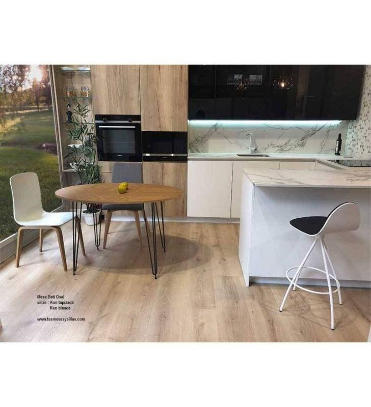 Mesa-extensible-hierro madera