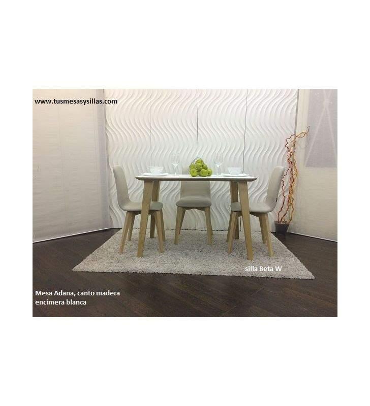 Mesa fija Adana canto madera biselado