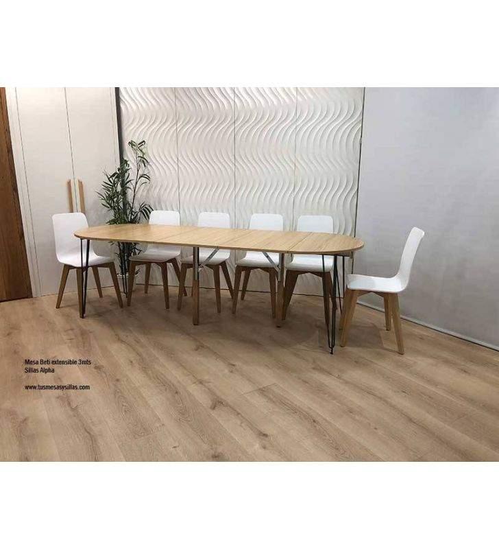 Table ronde Beti extensible jusqu'à 3 mètres