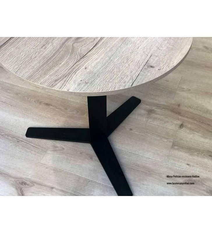 Peliccan, mesa redonda de pata central