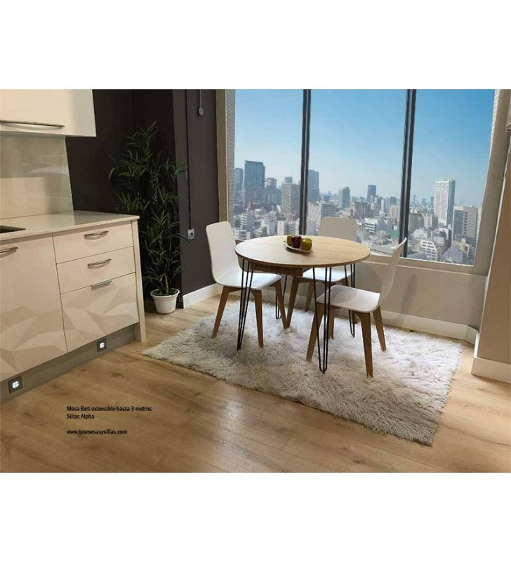 Table ronde extensible style vintage Beti