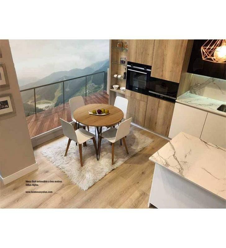 Mesa redonda extensible de cocina o comedor