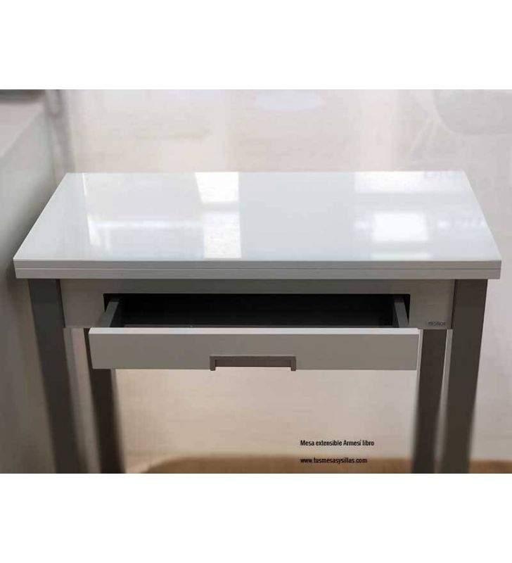 Mesa libro de cocina Armesí cristal con cajón, fondo 35, 40 y 45