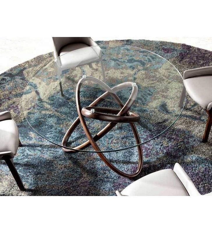 Mesa redonda de comedor en Nogal y encimera de cristal