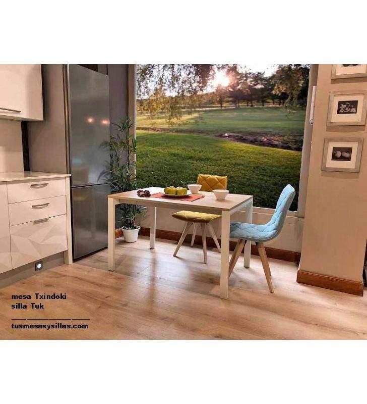 Mesa cocina Txindoki cuadrada extensible 100x100