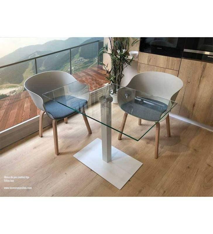 Mesa pie central y cristal transparente