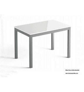Conjunto mesa Flora cristal y sillas Milán