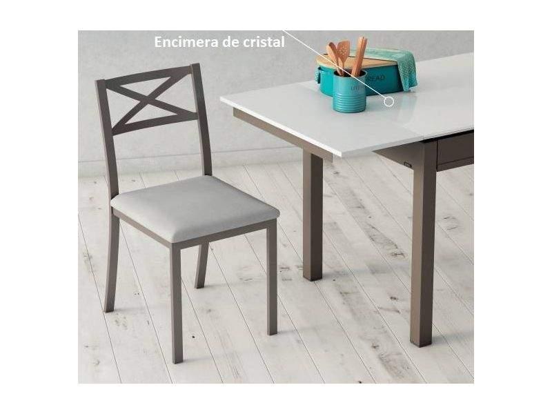 Table extensible avec tiroir et plateau en verre, plusieurs tailles