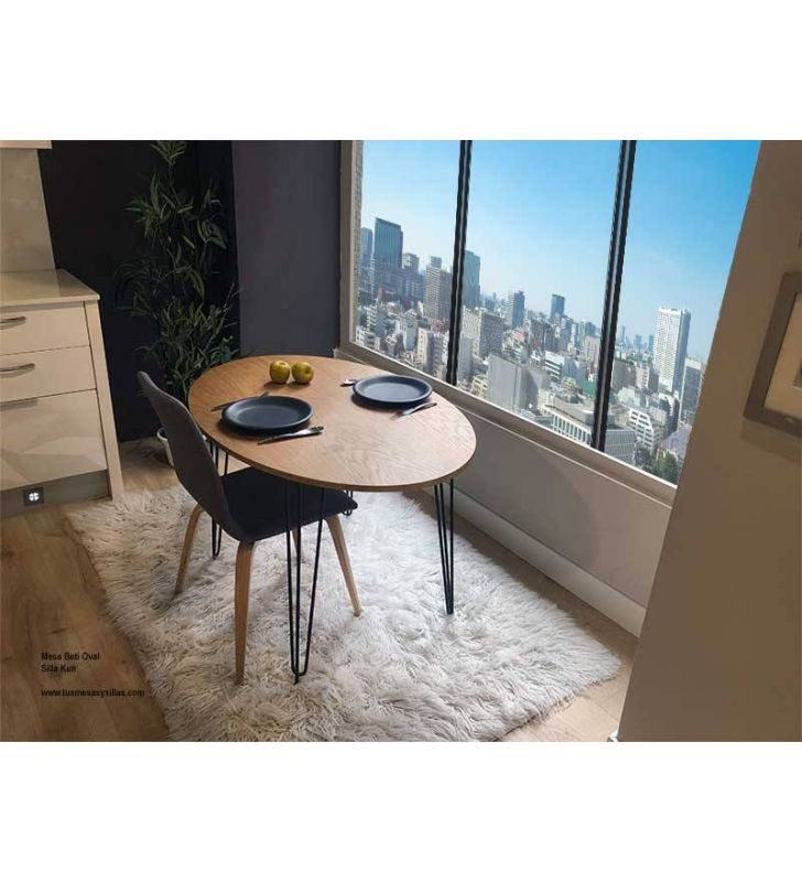 Table ovale extensible de style industriel Beti