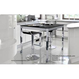 Table sur-mesure Multipla, bar, verre, stratifié, fixe ou extensible