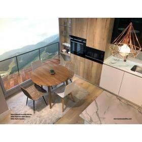 Modelos de mesas con encimeras en madera maciza, haya,  roble