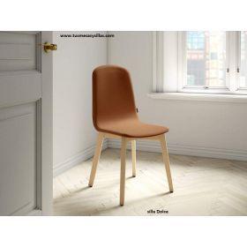 silla de cocina o comedor de estilo nordico en madera blanco