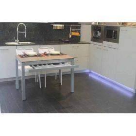 Mesas de cocina con cajon cubertero y pata deslizante o apertura lateral