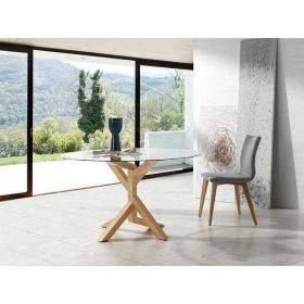 tables rondes fixes et extensibles pour cuisine et salle à manger, plan de travail en bois, pieds métaliques